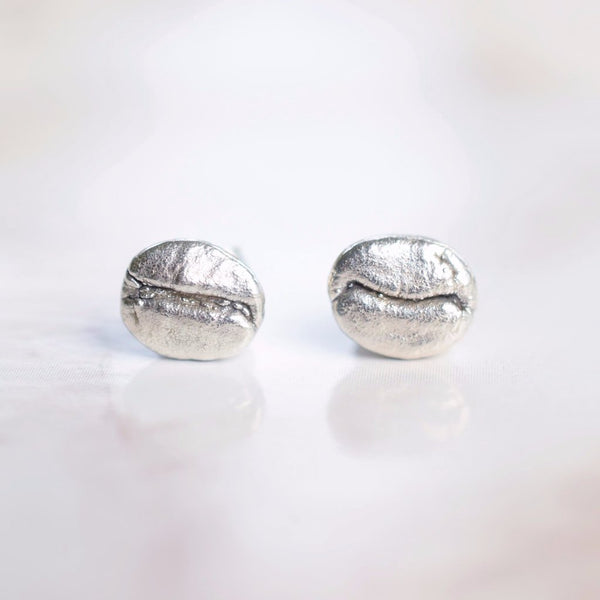 REAL COFFEE BEAN STUD EARRINGS IN FINE SILVER