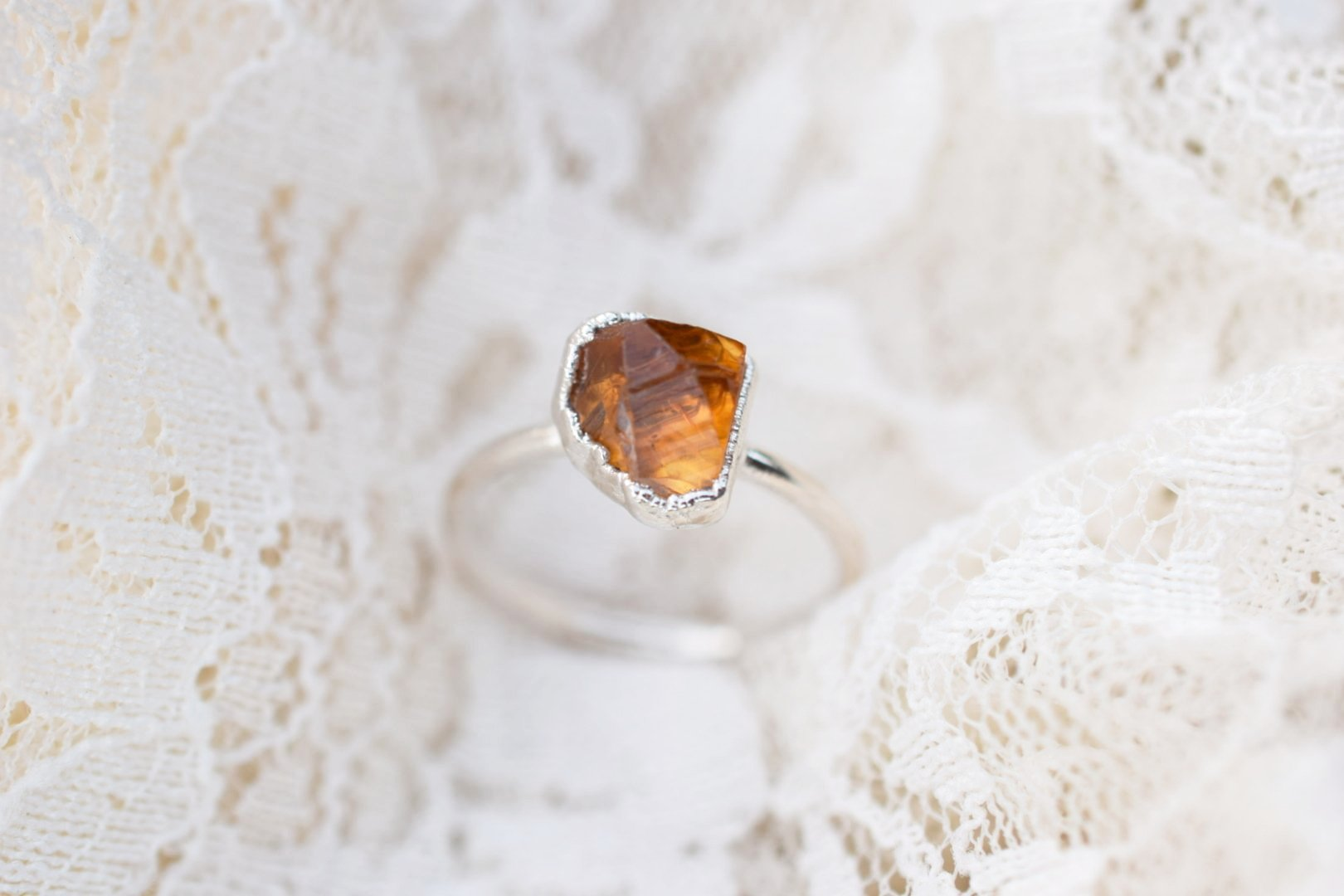 ROUGH CITRINE RINGS FINE SILVER