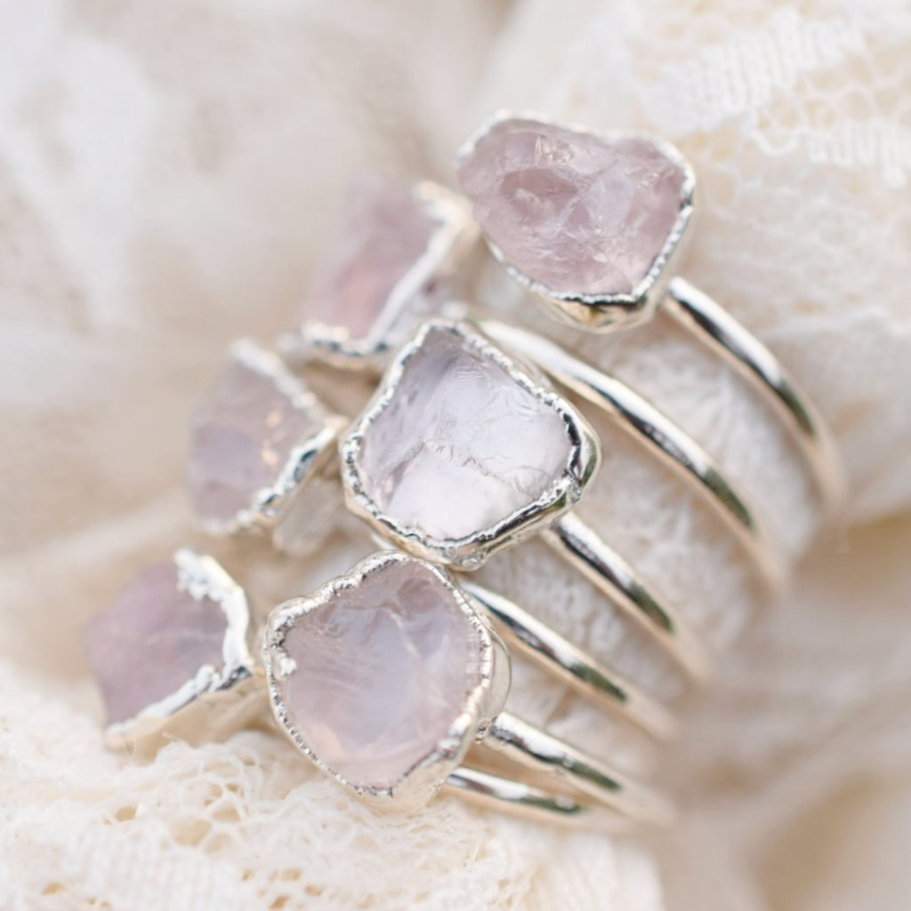 ROUGH ROSE QUARTZ RINGS FINE SILVER