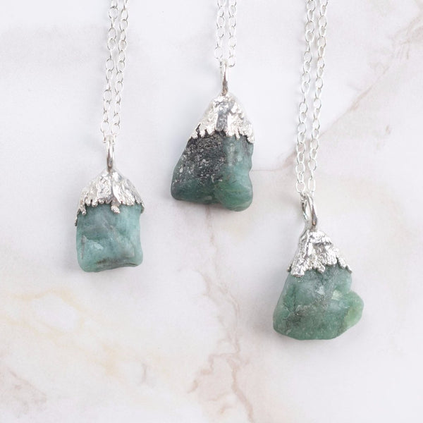 RAW EMERALD NECKLACE IN FINE SILVER