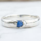 Sapphire and Herkimer diamond Sterling silver ring band