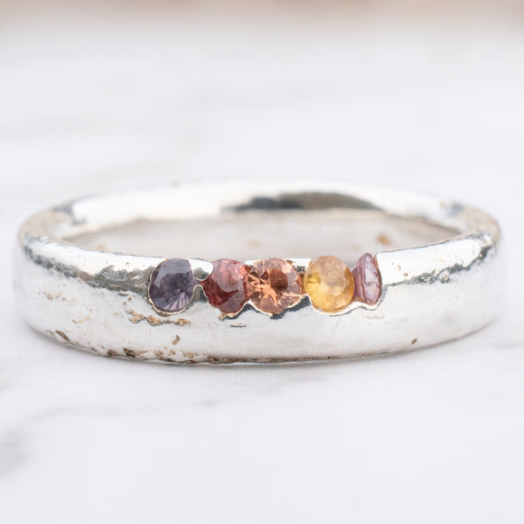 Multi colour sapphire Argentium silver ring band