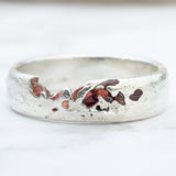 Rough red spinnel eco Sterling silver ring band