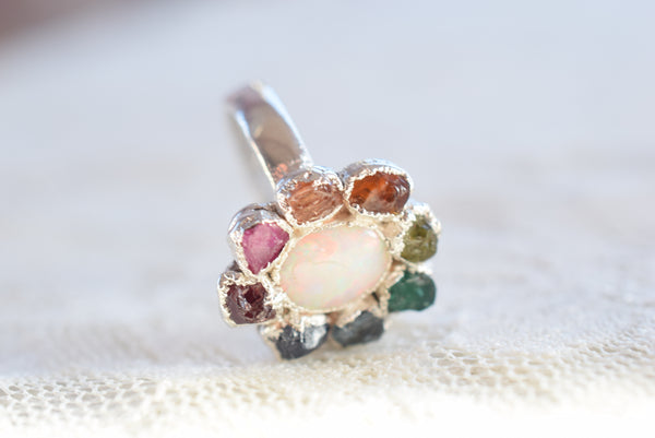 RAW MULTI-STONE 'RAINBOW' AND OPAL RING IN FINE SILVER