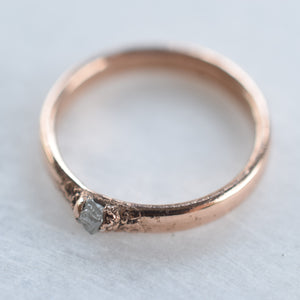 ROUGH DIAMOND WIDE BAND RING IN ROSE GOLD