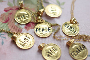 ANTIQUE SILVER THREE PENCE COIN NECKLACE 'HOWL' IN GOLD