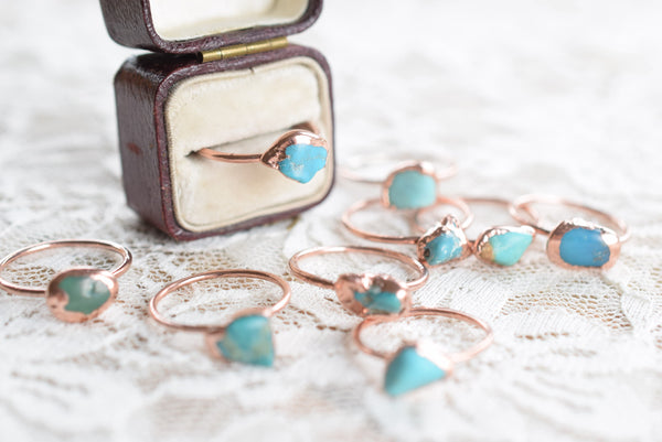 RAW TURQUOISE RING IN RECYCLED COPPER