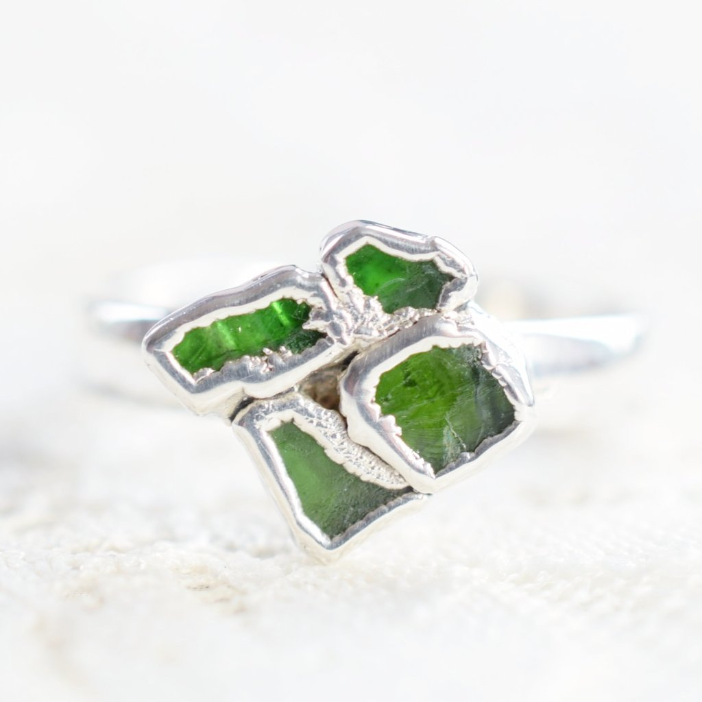 ROUGH EMERALD TILE RING IN FINE SILVER
