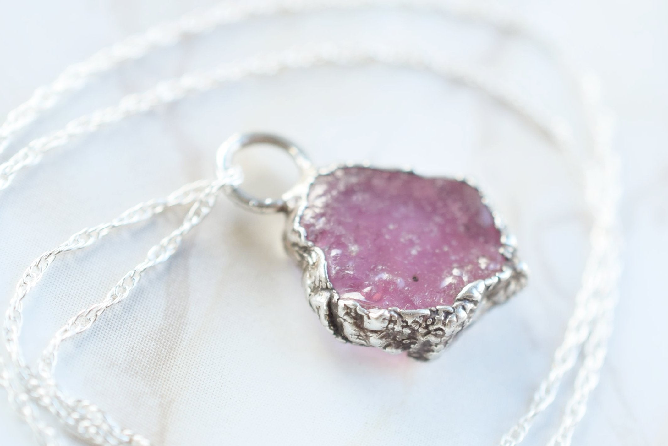 ROUGH RUBY NECKLACE IN FINE SILVER