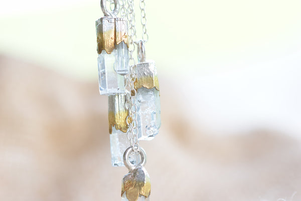 DAINTY RAW AQUAMARINE NECKLACE IN FINE SILVER AND GOLD