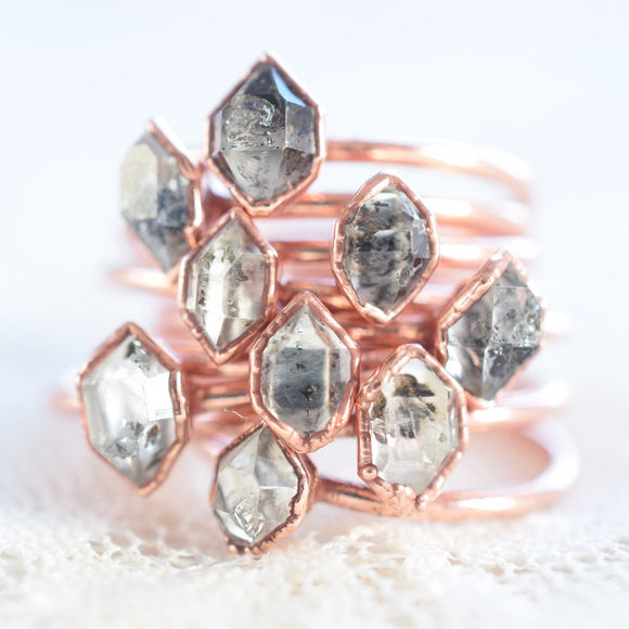 HERKIMER DIAMOND RING IN RECYCLED COPPER