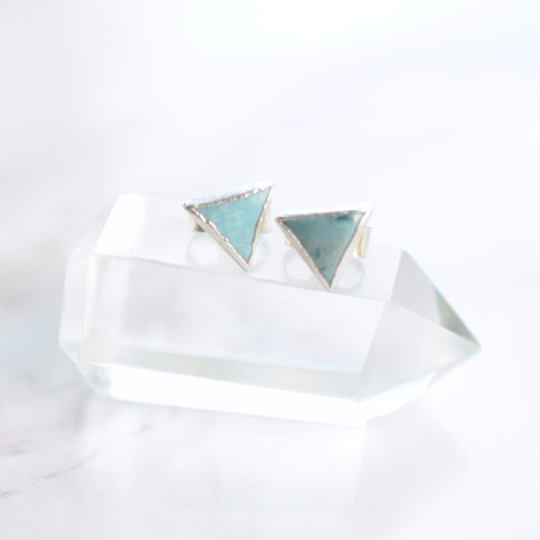 TRIANGLE TURQUOISE STUD EARRINGS IN FINE SILVER