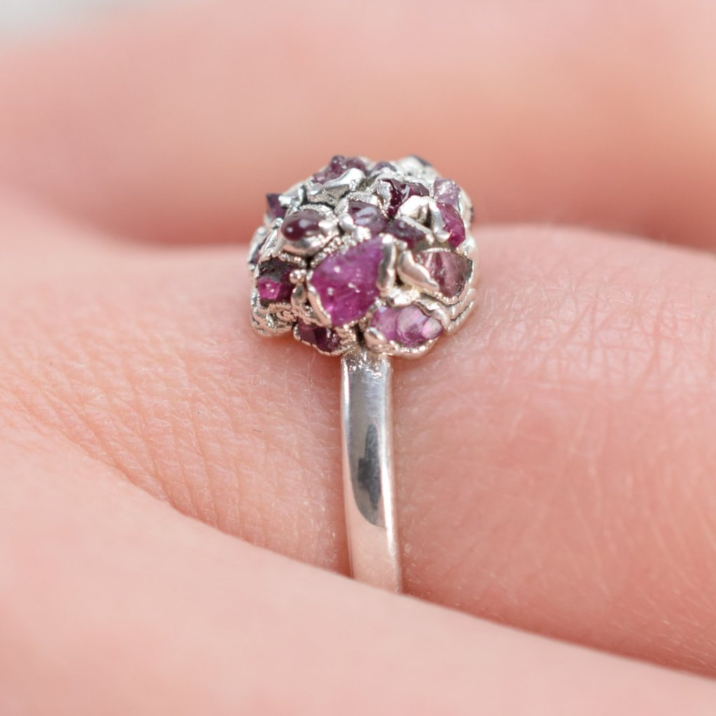 ROUGH RUBY 'HYDRANGEA' RING IN FINE SILVER