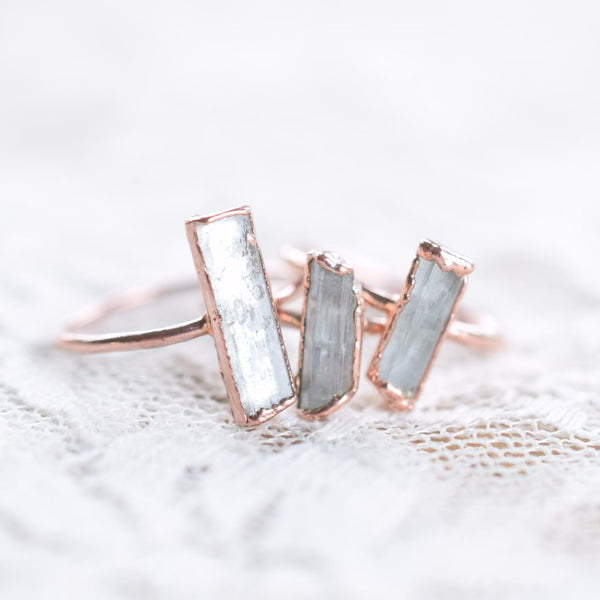 RAW AQUAMARINE RING IN RECYCLED COPPER
