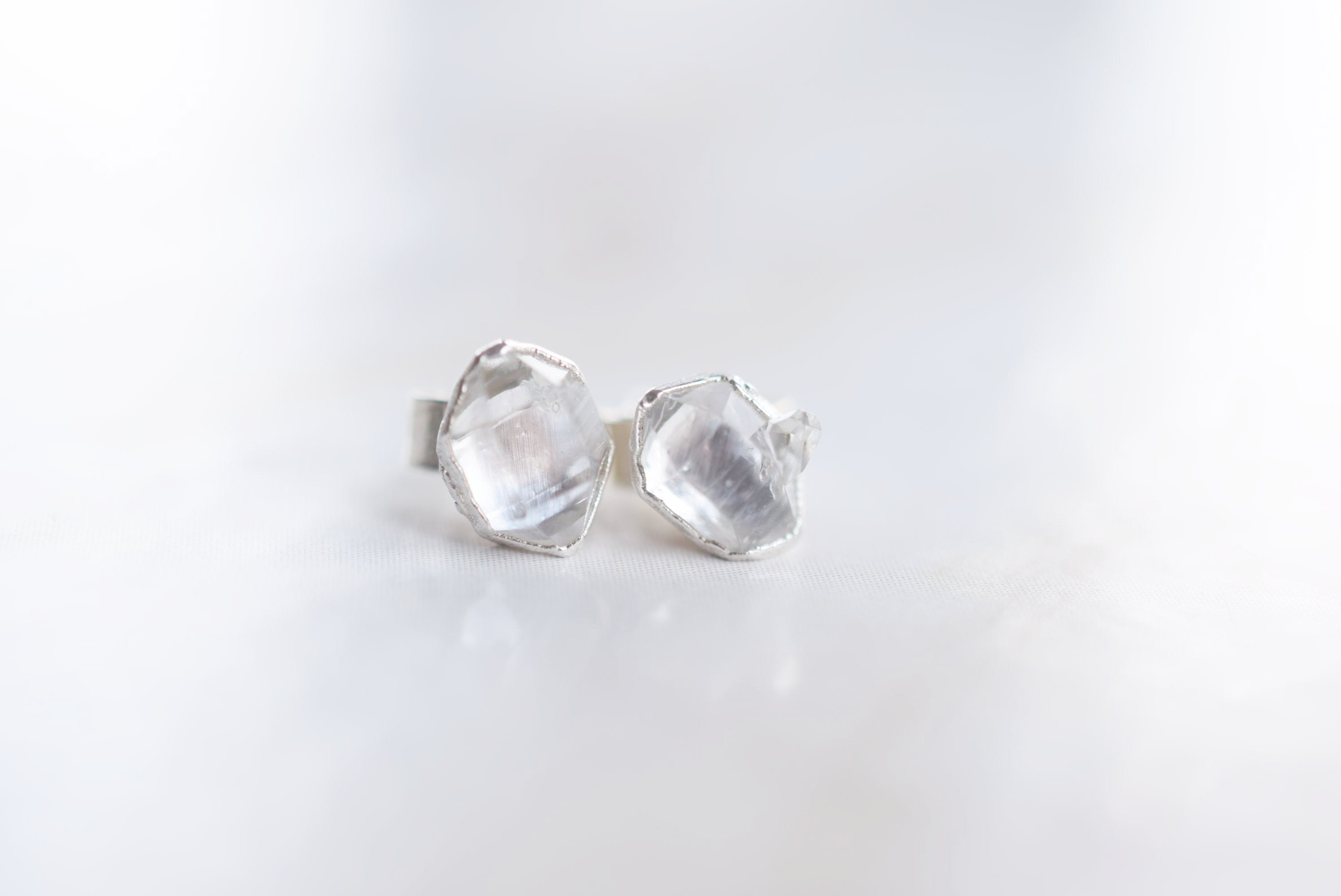 HERKIMER DIAMOND STUD EARRINGS IN FINE SILVER – FEATHEROAK