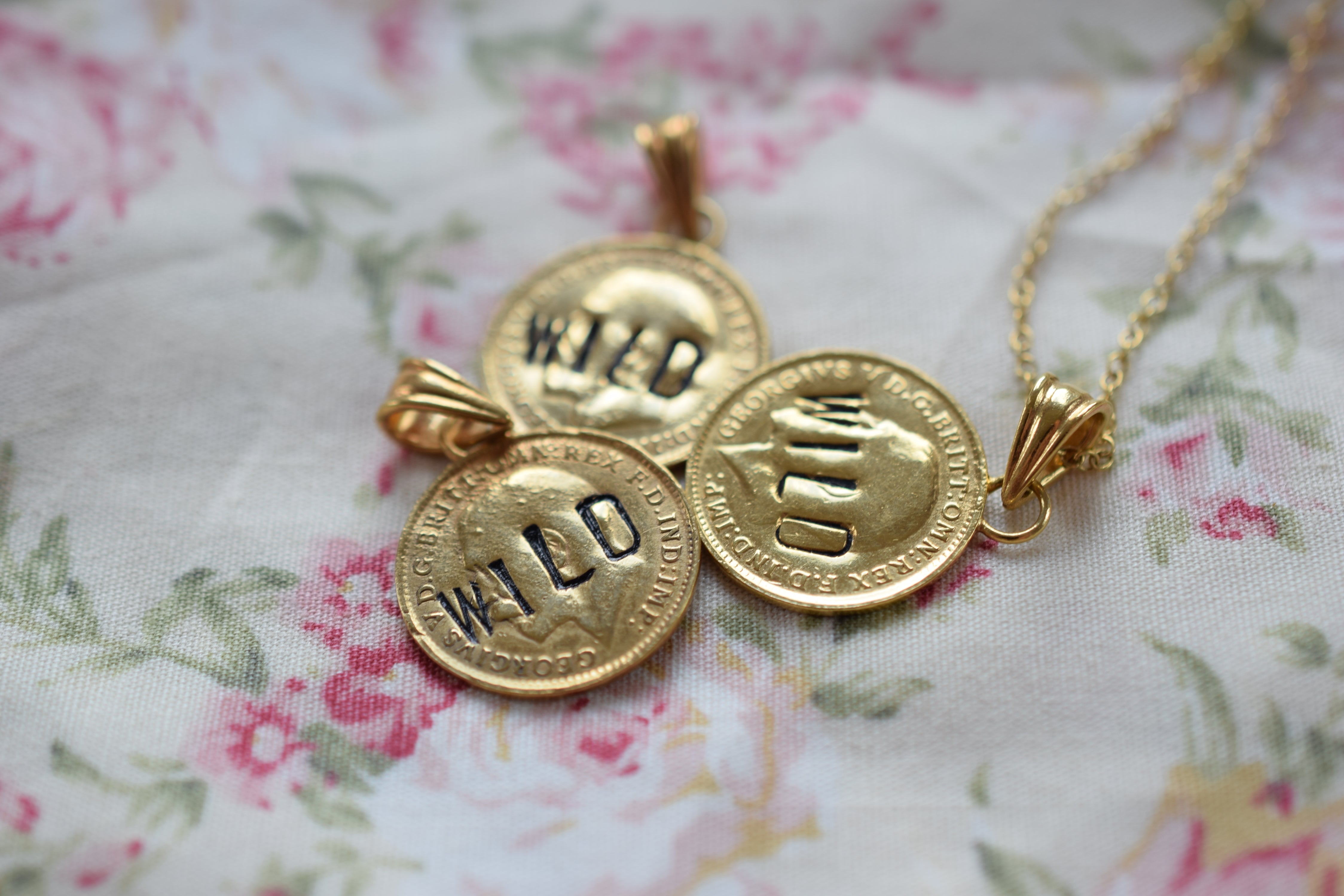 ANTIQUE SILVER THREE PENCE COIN NECKLACE 'WILD' IN GOLD