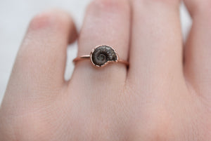 BRITISH AMMONITE FOSSIL RING IN RECYCLED COPPER