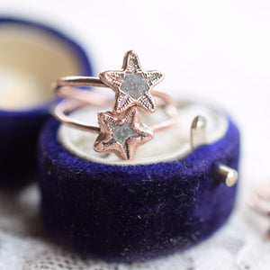 BRITISH 'STAR STONE' FOSSIL RING IN RECYCLED COPPER
