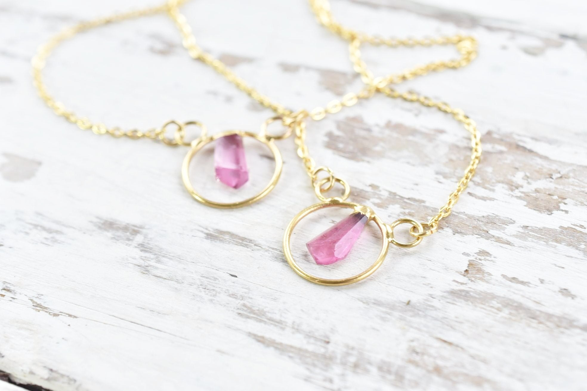 PINK TOURMALINE CRYSTAL 'HOOP' NECKLACE IN GOLD
