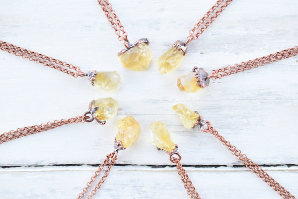 RAW CITRINE CHUNK NECKLACE IN RECYCLED COPPER