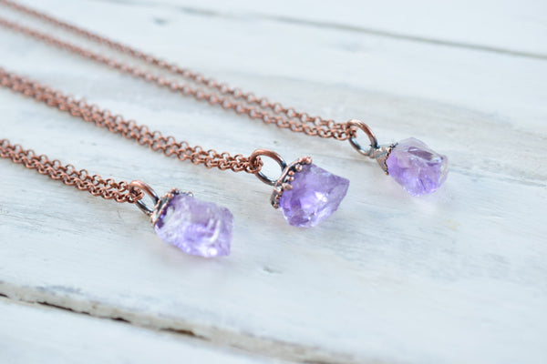 RAW AMETHYSET CHUNK NECKLACE IN RECYCLED COPPER