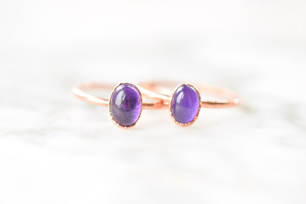 AMETHYST CABOCHON RING IN RECYCLED COPPER