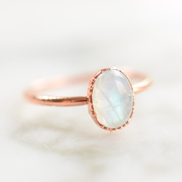 MOONSTONE CABOCHON RING IN RECYCLED COPPER