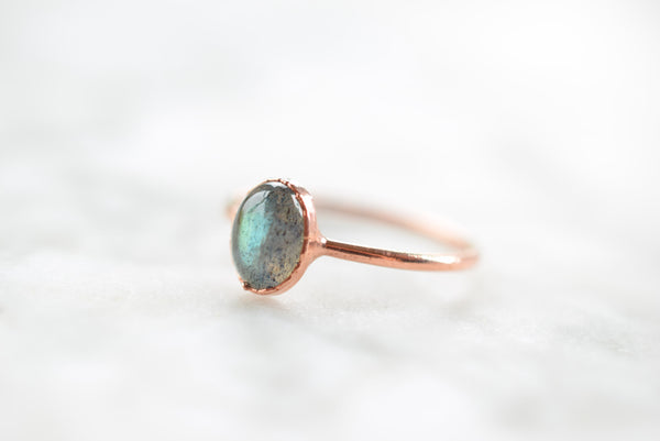 LABRADORITE CABOCHON RING IN RECYCLED COPPER
