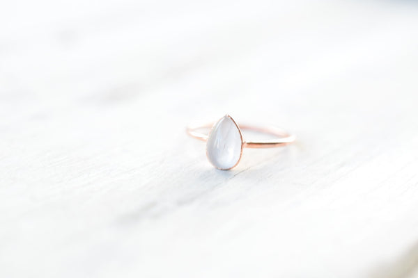 ROSE QUARTZ CABOCHON RING IN RECYCLED COPPER