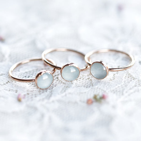 MILKY AQUAMARINE CABOCHON RING IN ROSE GOLD