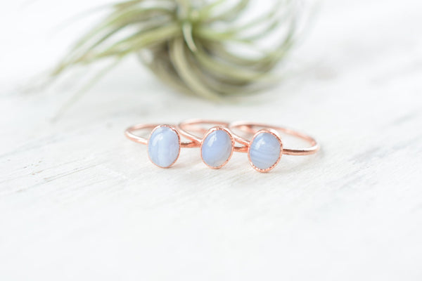 BLUE LACE AGATE CABOCHON RING IN RECYCLED COPPER