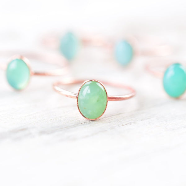 GREEN CHALCEDONY CABOCHON RING IN RECYCLED COPPER