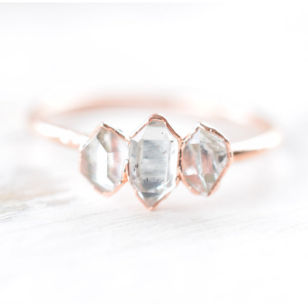 THREE STONE HERKIMER DIAMOND RING IN RECYCLED COPPER