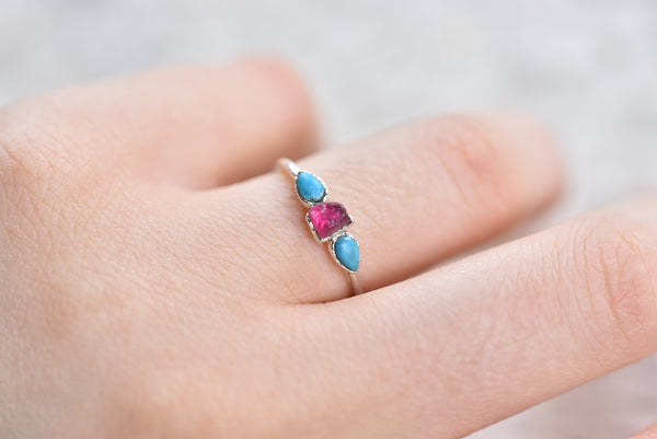 RAW PINK TOURMALINE AND TURQUOISE RING IN FINE SILVER