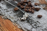 REAL COFFEE BEAN NECKLACE IN  FINE SILVER
