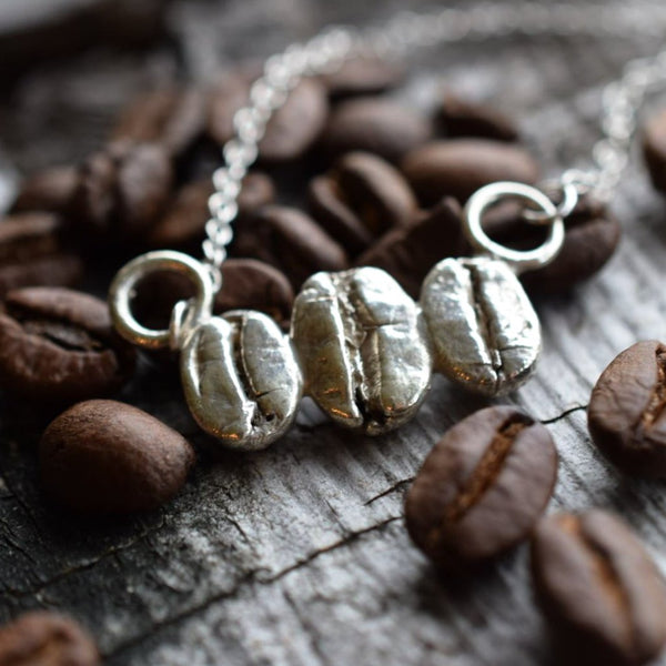 REAL COFFEE BEAN NECKLACE IN SILVER PLATED COPPER