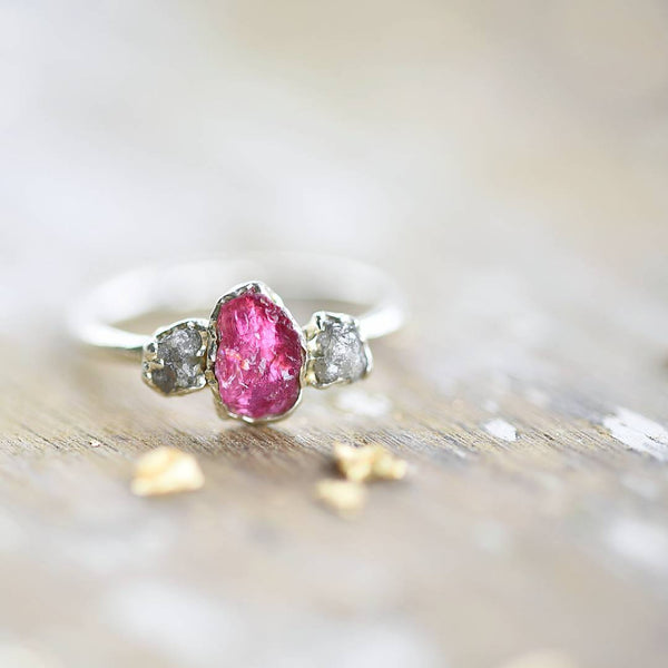 RAW PINK TOURMALINE AND ROUGH DIAMOND RING IN FINE SILVER