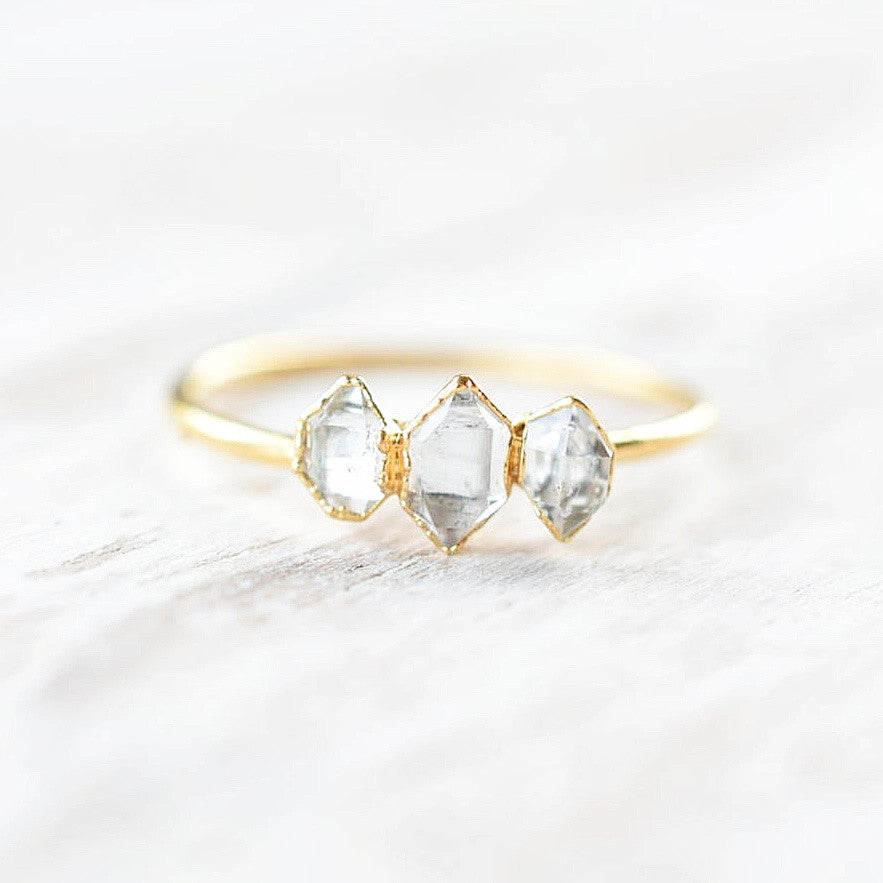 THREE STONE HERKIMER DIAMOND RING IN FINE SILVER