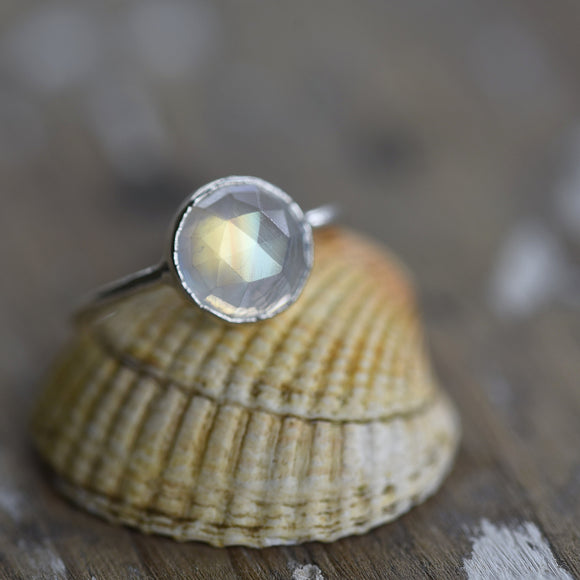 ROSE CUT RAINBOW MOONSTONE RING IN FINE SILVER