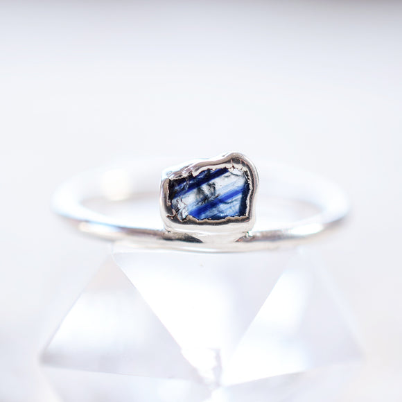 ROUGH BANDED SAPPHIRE RING IN FINE SILVER