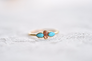 GOLD TURQUOISE AND ORANGE GARNET RING