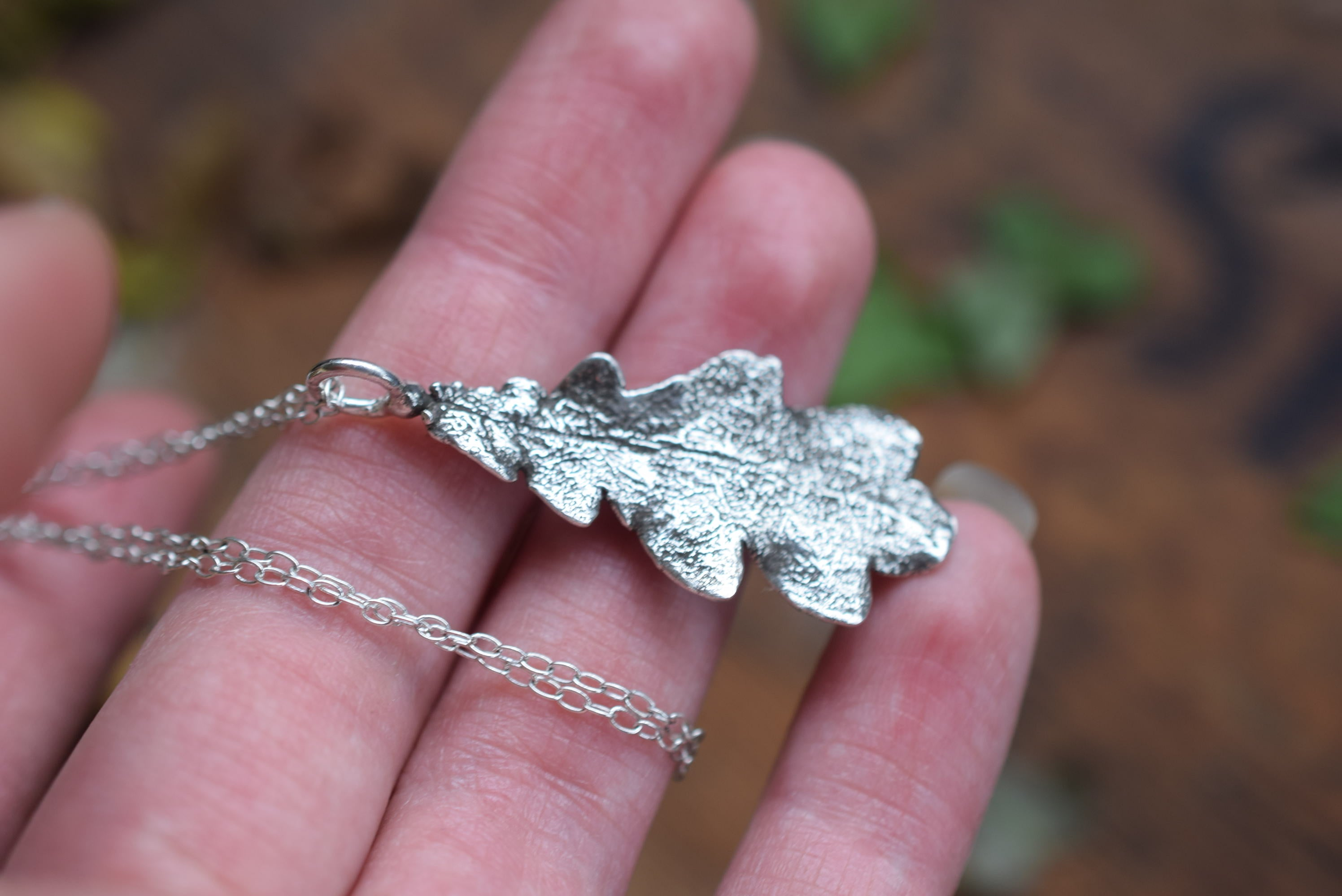 REAL ENGLISH OAK LEAF NECKLACE IN FINE SILVER