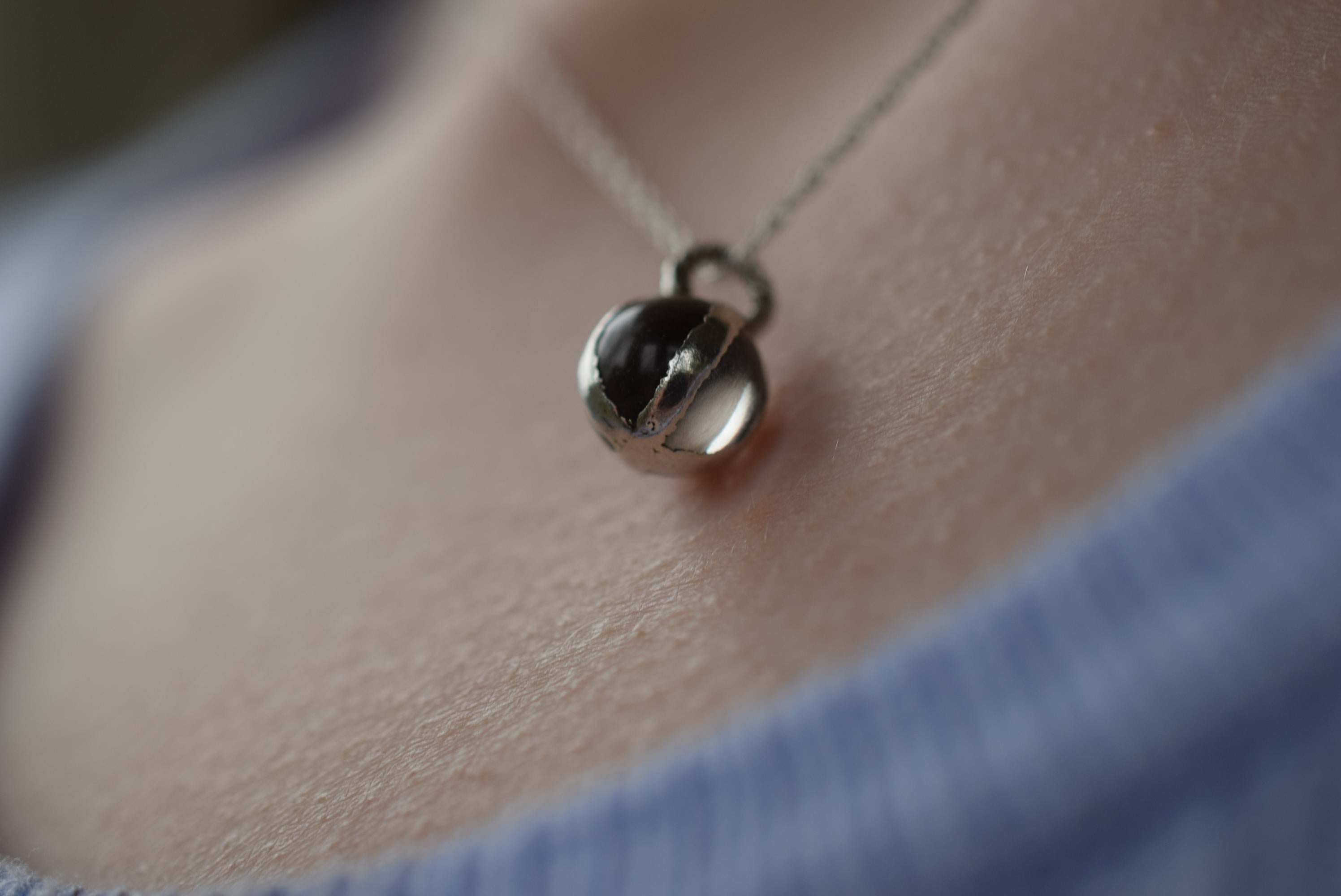 MINATURE QUARTZ 'PORTABLE CRYSTAL BALL' NECKLACE IN FINE SILVER