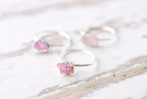 RAW PINK TOURMALINE RING IN FINE SILVER