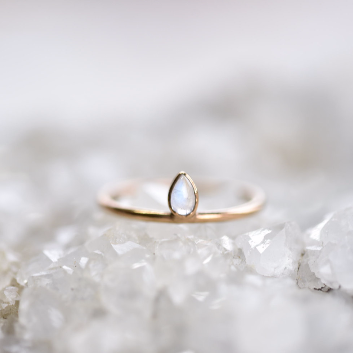 PLATED MOONSTONE 'MOONDROP' RING IN RECYCLED COPPER