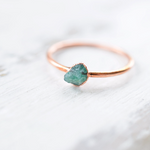 RAW EMERALD RING IN RECYCLED COPPER (SMALL STONE VERSION)