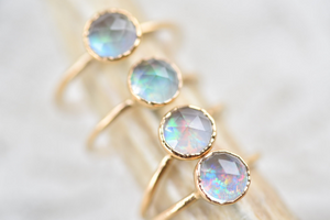 ROSE CUT QUARTZ AND OPAL RING IN GOLD & RECYCLED COPPER