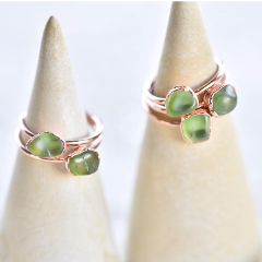 FREE-FORM PERIDOT RING IN RECYCLED COPPER