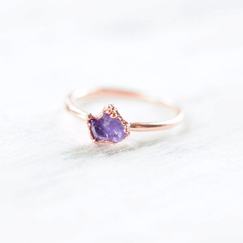 RAW AMETHYST RING IN RECYCLED COPPER (SMALL STONE VERSION)