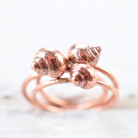 REAL BRITISH SEA SHELL RINGS IN RECYCLED COPPER